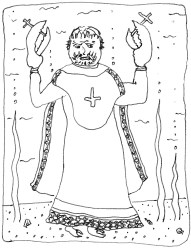 Middle Ages' engraving: sea abbot