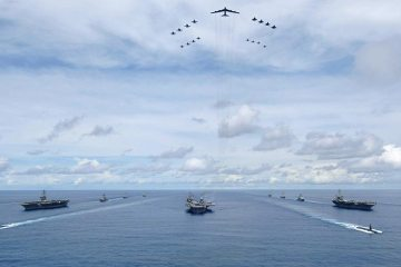 US Navy three carrier strike group in the pacific