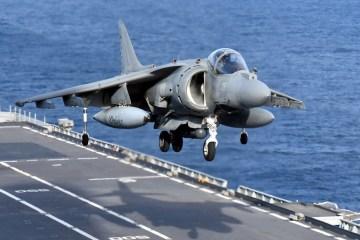 Italian Navy AV8B Harrier II landing on Cavour aircraft carrier