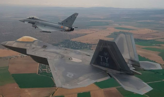 USAF F-22s and Spanish Air Force Typhoons train over Spain