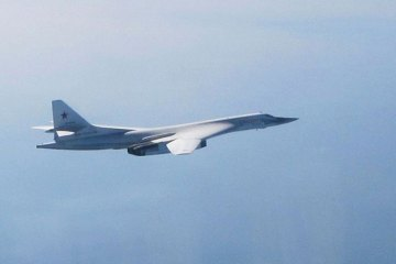 Tupolev Tu-160 Blackjak intercepted by UK RAF Typhoon