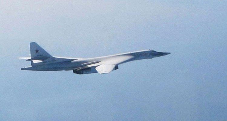 Tupolev Tu-160 Blackjak intercepted by UK RAF Typhoon