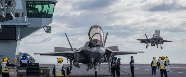 FIRST UK F-35 FIGHTER JETS LAND ONBOARD HMS QUEEN ELIZABETH