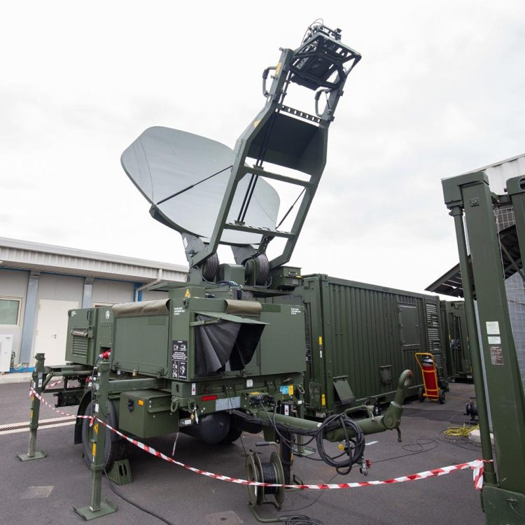 satellite dish for desktop used to link the Transportable General Ground Station to the NATO AGS RQ-4D Phoenix