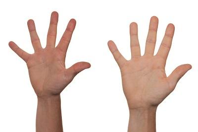 hands upraised