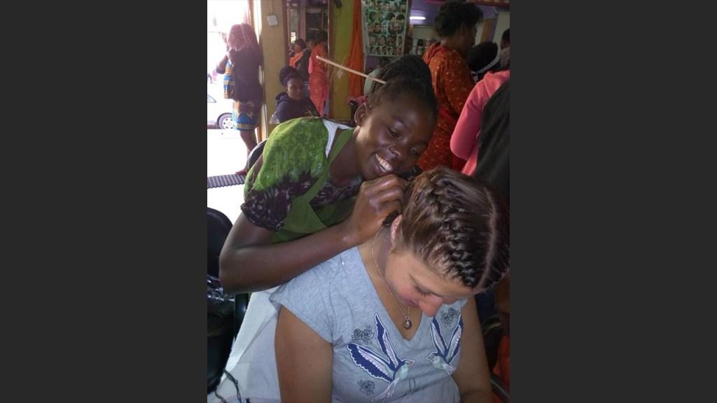Elisabeth at the local hairdressing salon