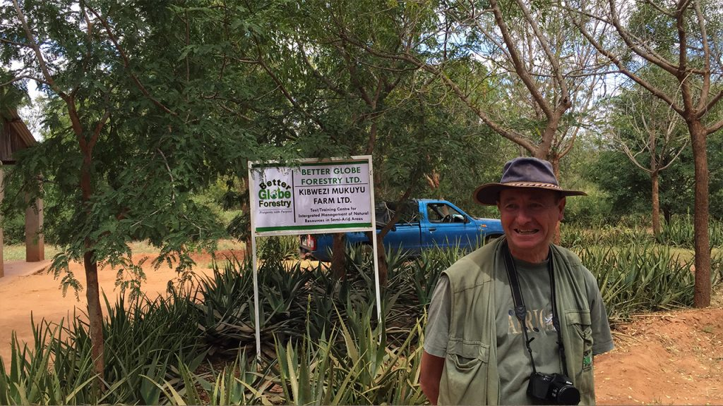 Better Globe's forest master Jan Vandenabeele at the farm in Kibwezi, 180630