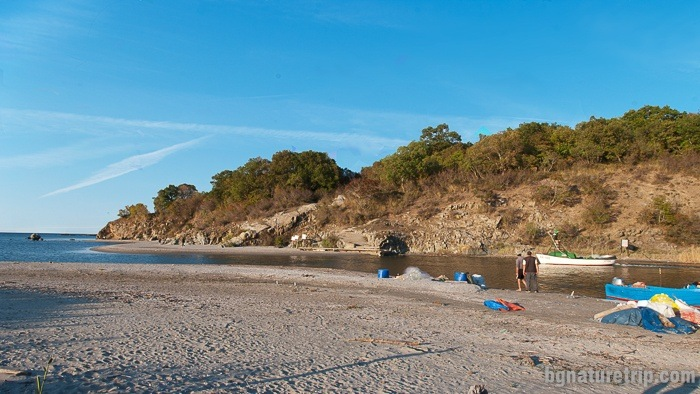Fishers prepare themselves for fishing in the bays near the mouth of Ropotamo River