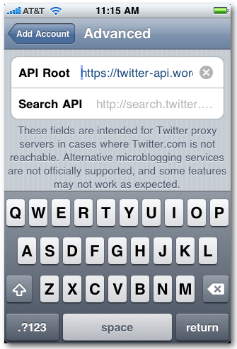 Tweetie API endpoint config on iPhone