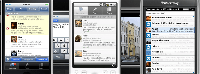 Screenshot of WordPress mobile apps