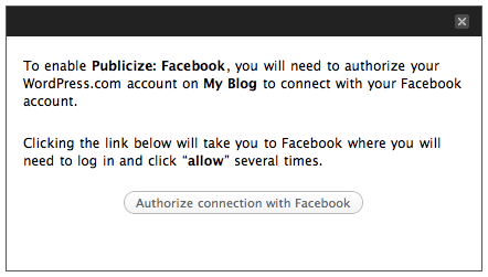 Screenshot: Publicize Facebook authorization message