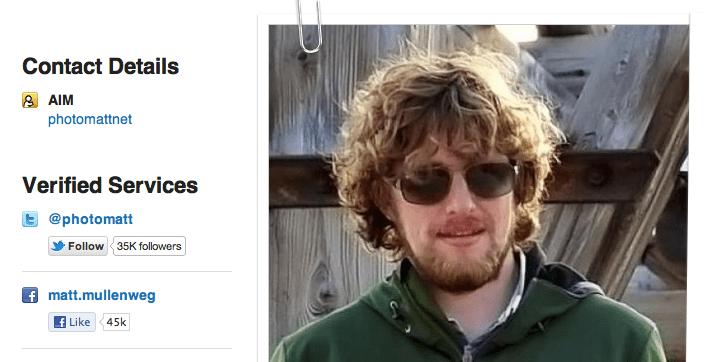 Matt の Gravatar プロフィールページ