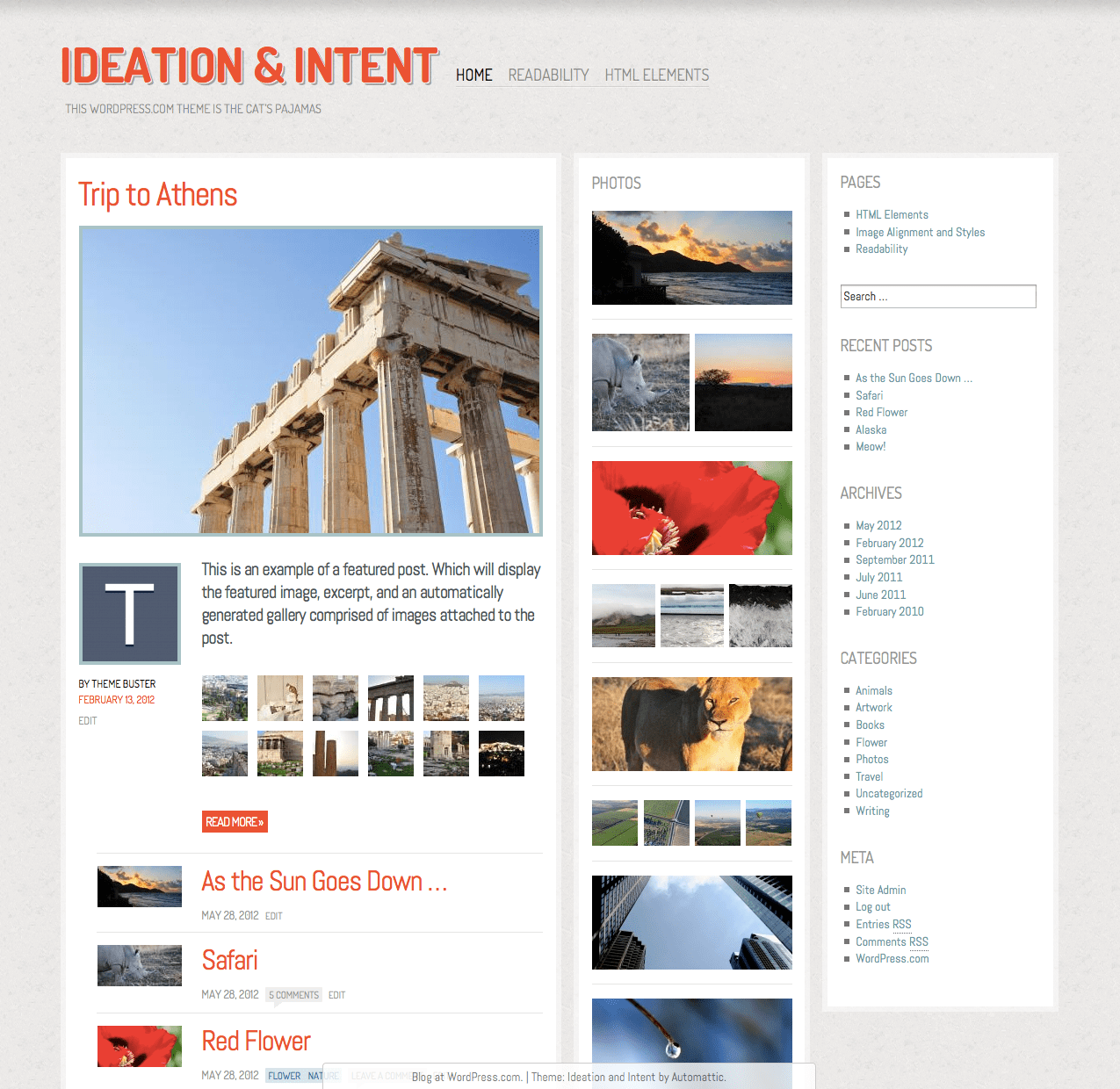 Screenshot of the Ideation & Intent theme for WordPress.com