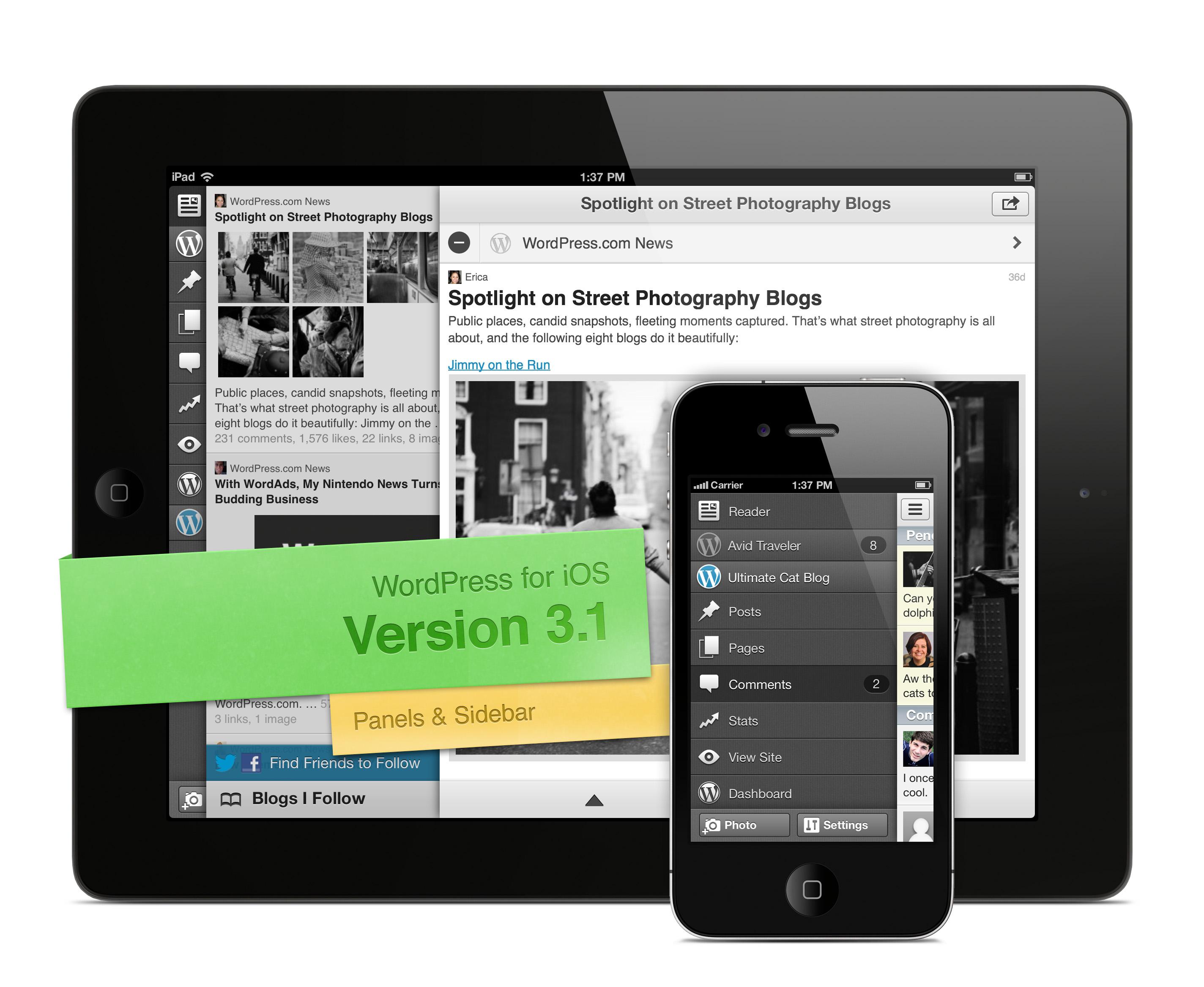 WordPress for iOS バージョン 3.1 のスクリーンショット(パネルとサイドバー)