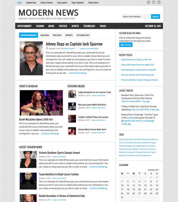 New Themes: Modern News and Dusk to Dawn