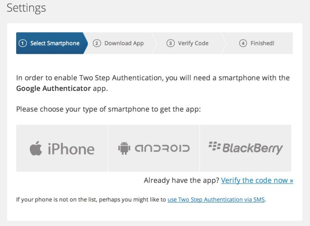 WordPress Settings for 2 step Authentication