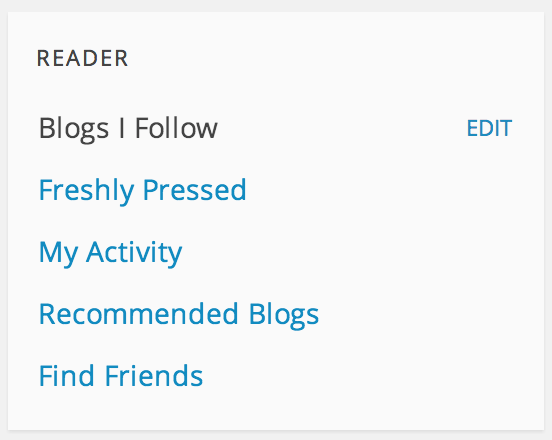 Wordpress Reader: Blogs I Follow Edit