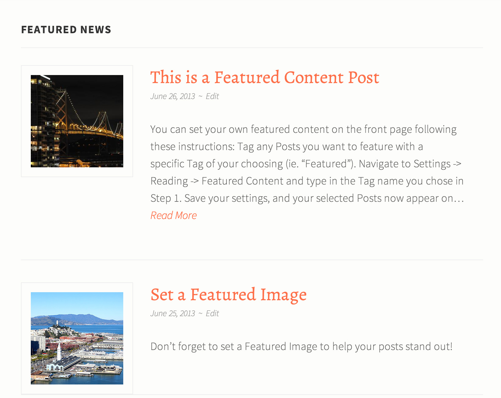 Featured Content is great for news & announcements