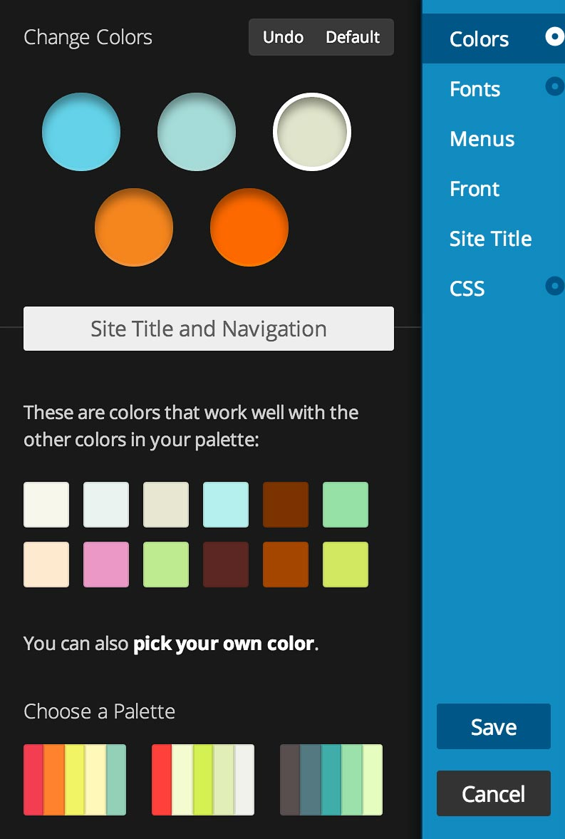 Custom Colors Panel