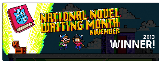 NaNoWriMo 2013 Winner Badge (courtesy of winner words-pictures-music)