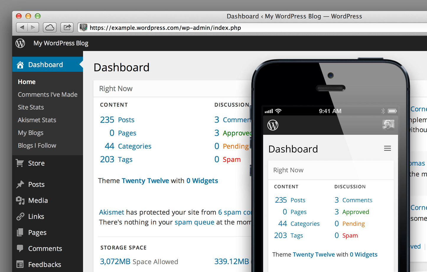 Screenshot of the new dashboard design