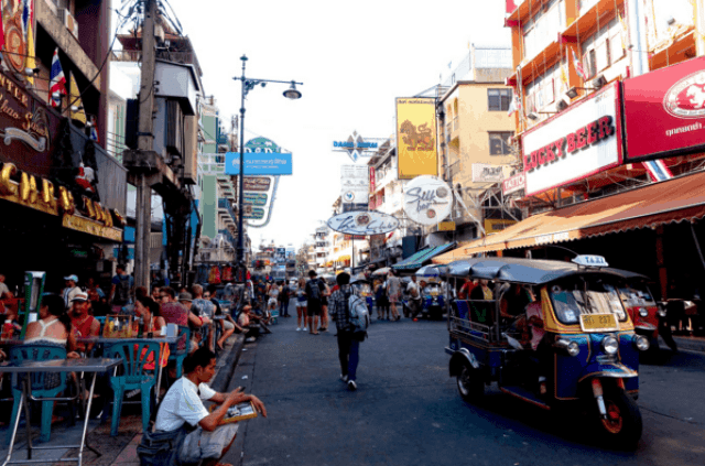 Streets of Khao Shan Road in the day