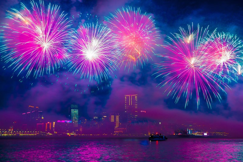Chinese New Year in Hong Kong: Fireworks over Victoria Harbor
