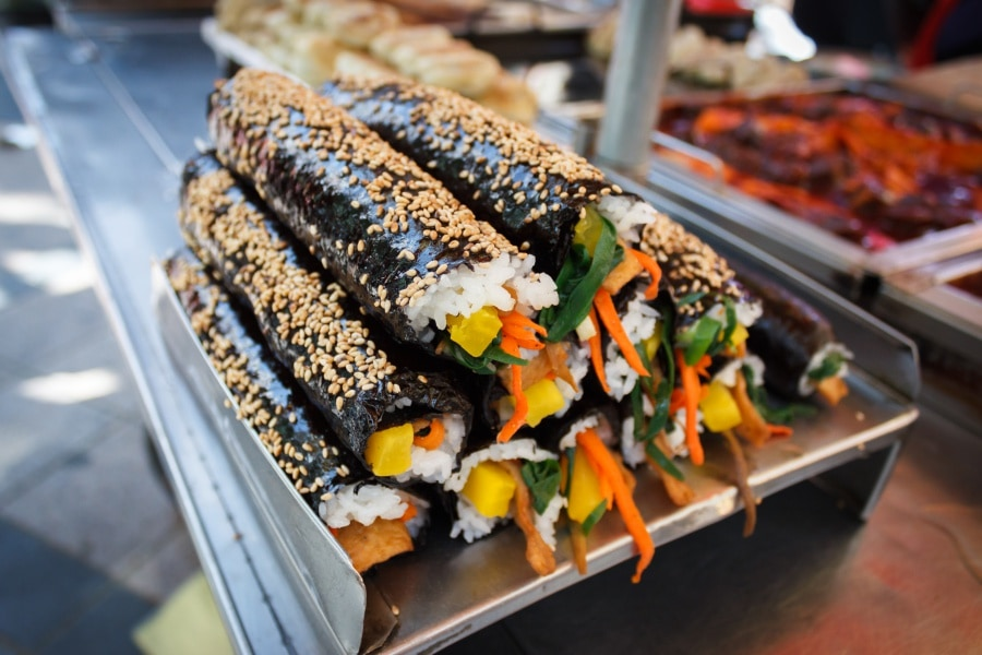 Gimbap (seaweed rice rolls): Seoul, South Korea