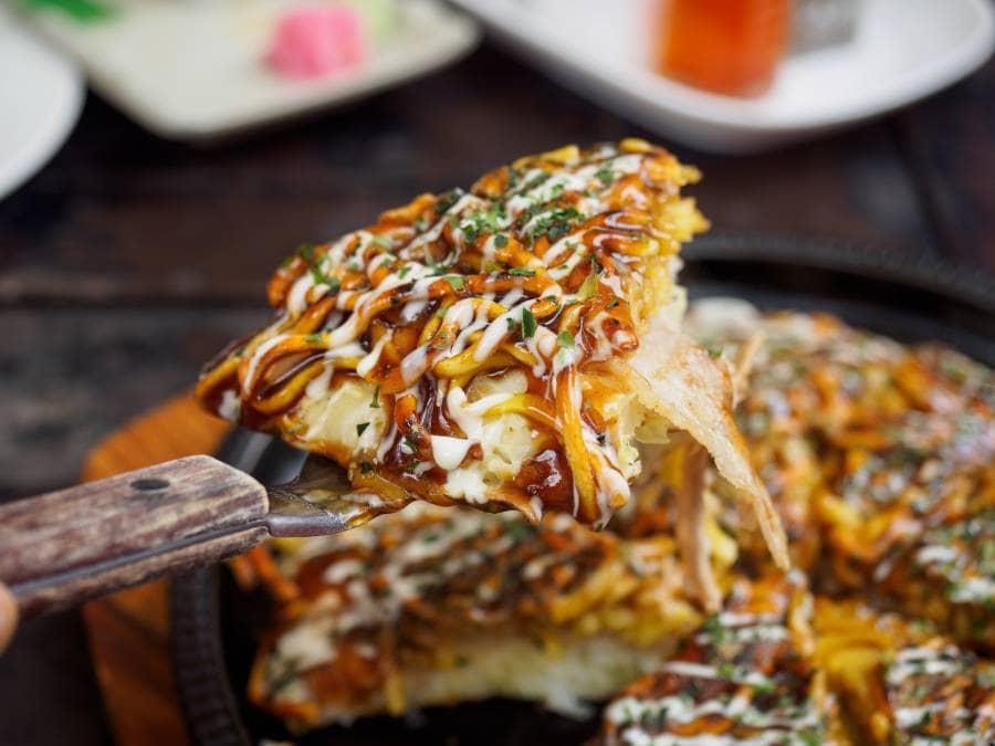 Okonomiyaki, known as the Japanese Pancake