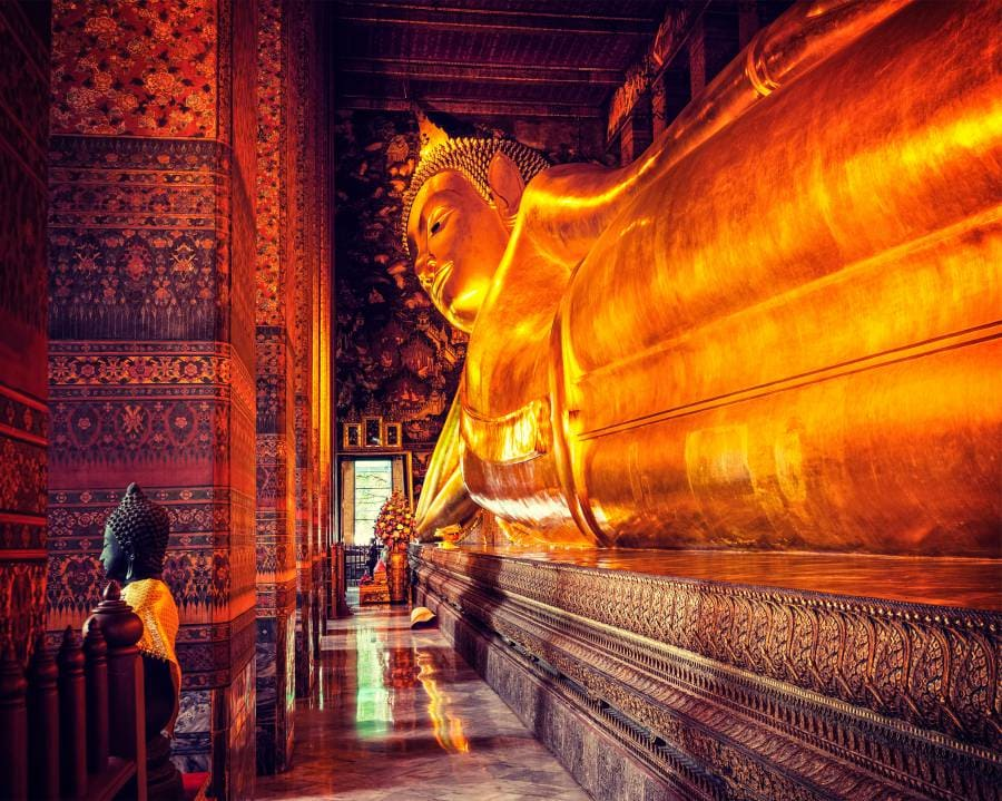 The famed 'Reclining Buddha' at Wat Pho: Bangkok, Thailand