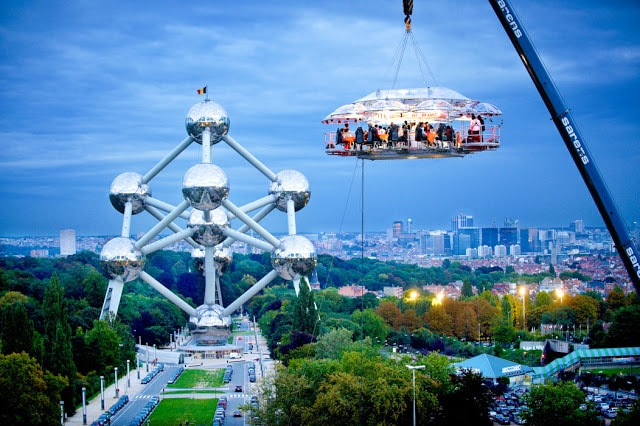 Dare to dine 50 metres in the sky, hanging only by a crane?
