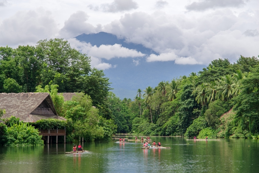 Bamboo Raft in the lake