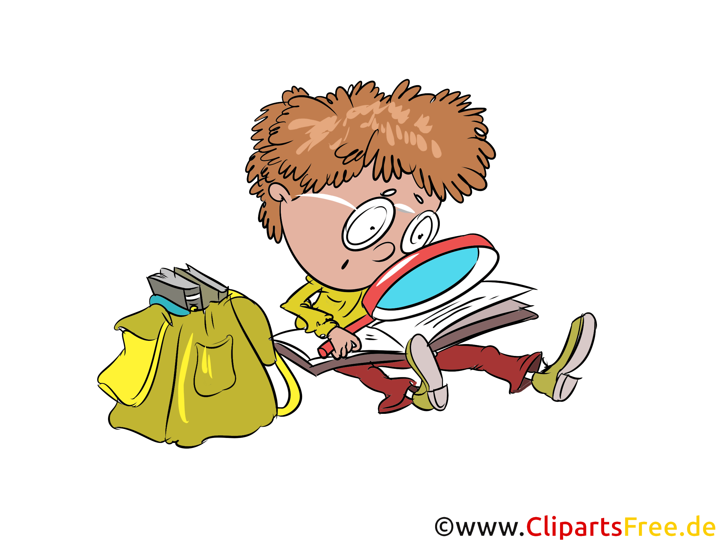 Clipart Free Student With Magnifying Glass Satchel