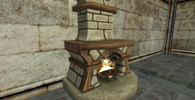 Small Stone Fireplace