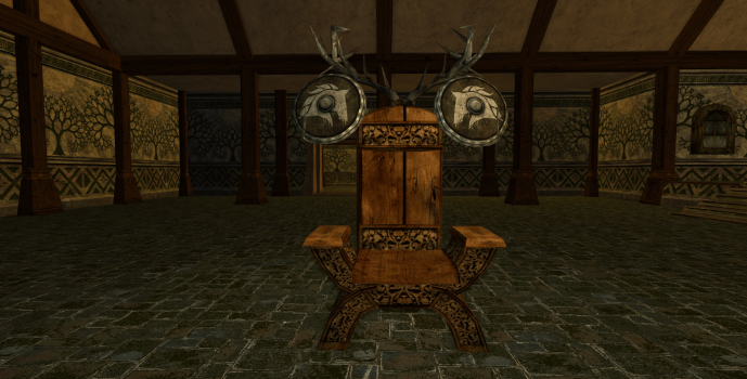 Rohirric Chair and Two Shields