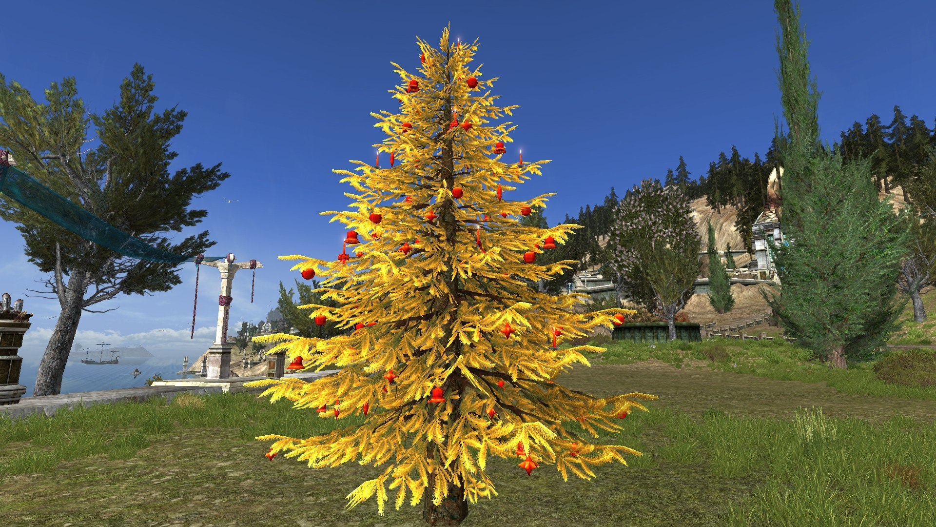 Golden Decorated Outdoor Yule-Tree
