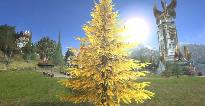 Golden Celebratory Outdoor Winter Tree