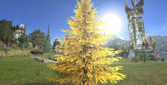 Golden Celebratory Outdoor Winter Tree