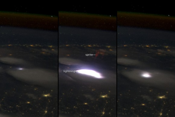 Lightning sprite seen from ISS via NASA Earth Observatory