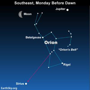 Starhop to Sirius from Orions Belt to Moon and Jupiter