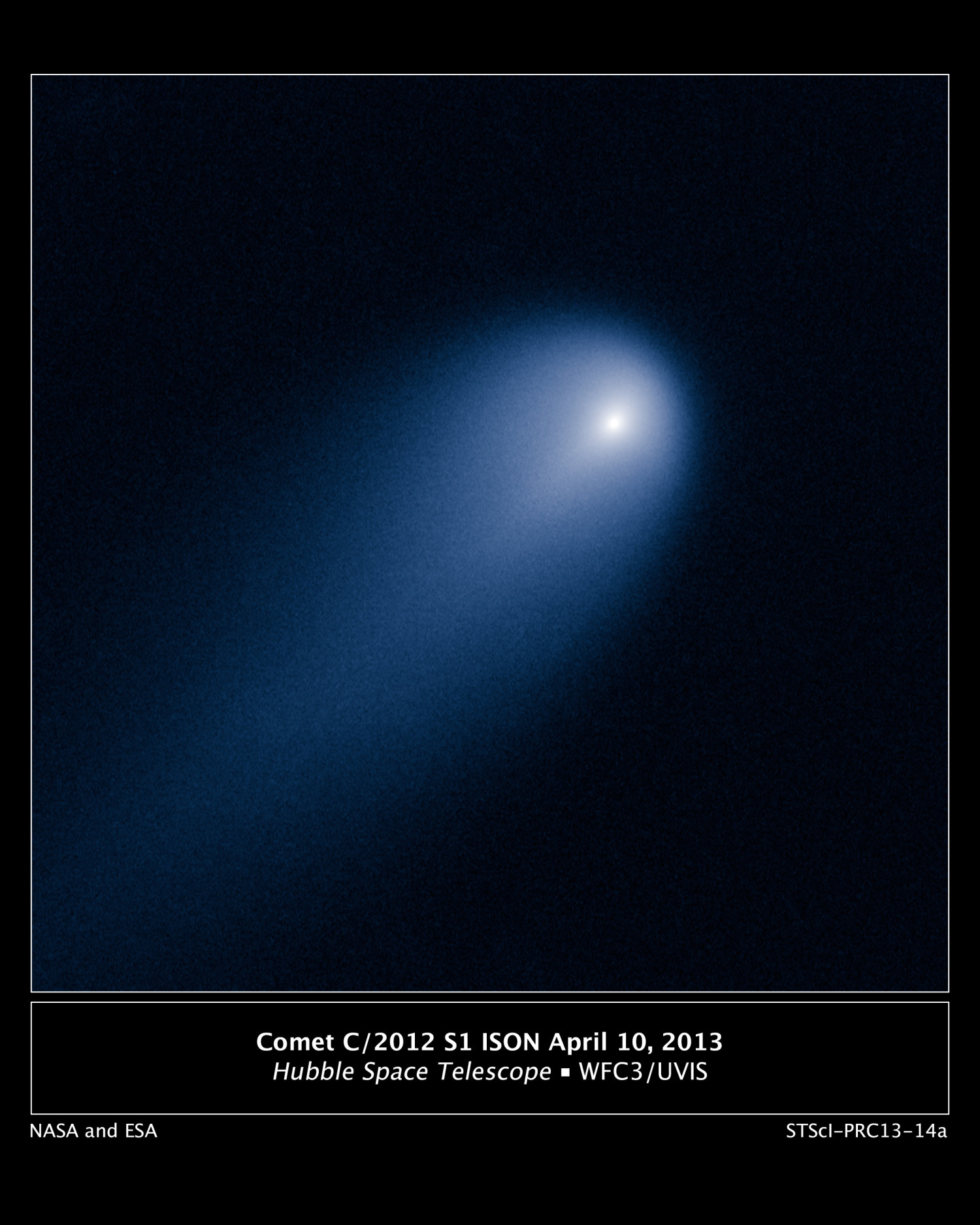 Comet C/ISON was imaged with the Hubble Space telescope on April 10 using the Wide Field Camera 3, when the comet was 394 million miles from Earth.   View larger.  Image via NASA, ESA, J.-Y. Li (Planetary Science Institute), and the Hubble Comet ISON Imaging Science Team
