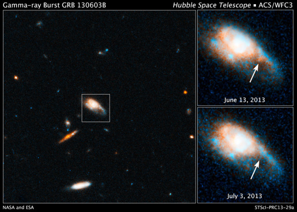 These Hubble images show the fireball afterglow of Gamma-ray Burst 130603B. Image credit: NASA, ESA, N. Tanvir (University of Leicester), A. Fruchter (STScI), and A. Levan (University of Warwick)