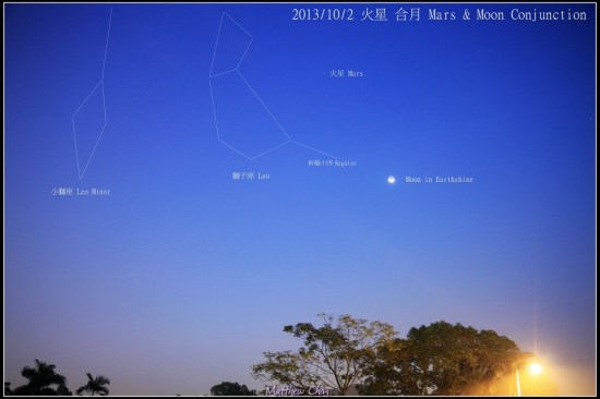 View larger. | Mars and moon as seen from Hong Kong on October 2, 2013 via EarthSky Facebook friend Matthew Chin.  Thank you, Matthew!  Mars is getting easier to see, but it's still pretty close to the sunrise, and it's relatively faint in contrast to how bright it will become in 2014.