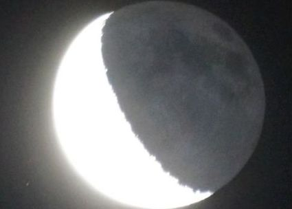 February 24, 2014 moon with earthshine by Greg Diesel Landscape Photography.