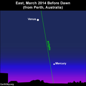The ecliptic intersects the horizon at a steep angle in the Southern Hemisphere, so Mercury will be easier to see from that part of the world.