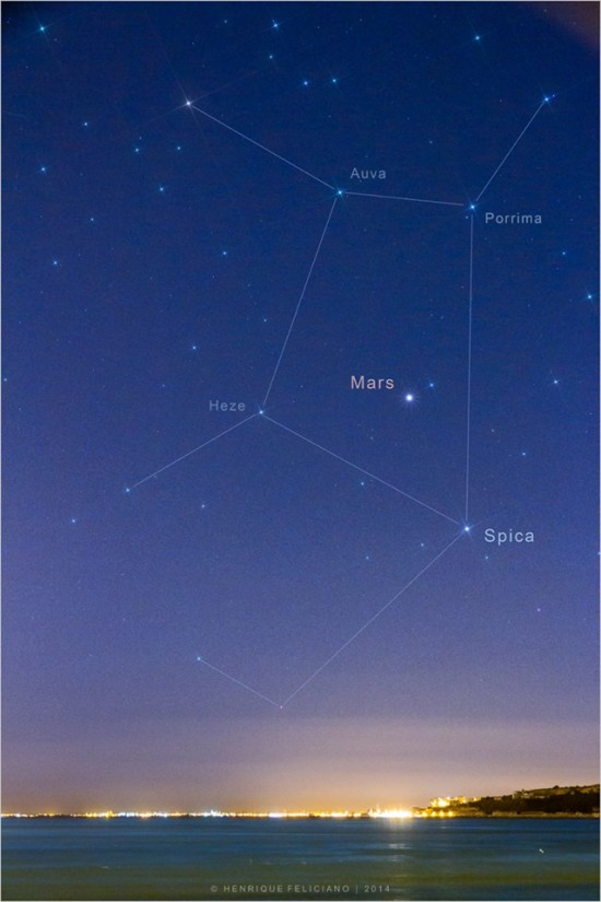 Mars is in front of the constellation Virgo.  Spica is Virgo's brightest star.  EarthSky Facebook friend Henrique Feliciano Silva in Lisbon, Portugal photographed Mars and its surrounding stars and created this great star map.  Thank you, Henrique!