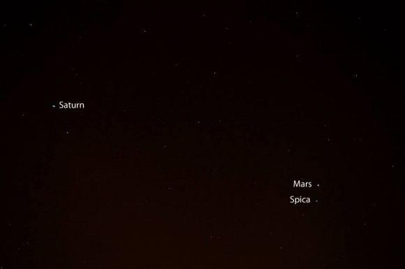 By mid-July 2014, Jupiter has disappeared into the sunset glare, but, as darkness falls, Mars and the star Spica are closest to each other on our sky's dome for this year.  You can also see Saturn nearby.  Photo by EarthSky Facebook friend Paulo Vinicius.  Thanks, Paulo!