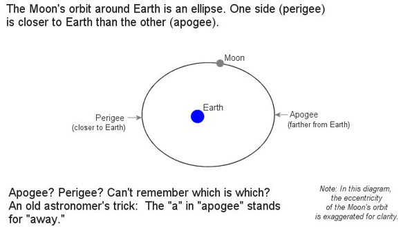 Image credit: NASA. The moon's orbit is closer to being a circle than the diagram suggests, but the exaggeration helps to clarify. The moon is closest to Earth in its orbit at perigee and farthest away at apogee. When the full moon aligns with perigee, as it does on November 14, 2016, then it's a perigee full moon.