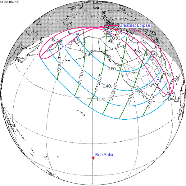The partial solar eclipse can be viewed as far north as the Arctic and as far south as Mexico. It can be seen as far east as the American East Coast and as far west as the American West Coast, and much of the Pacific Ocean to the north of Hawaii. Image credit: NASA Web Site Page