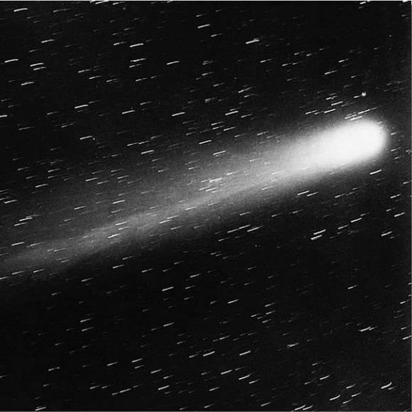 Halley's Comet at its 1910 visit.  The famous astronomer Edward Emerson Barnard at Yerkes Observatory in Wisconsin took this photo.  Via Wikimedia Commons.
